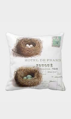 Pillow Cover Spring Nest Turquoise Eggs Cotton