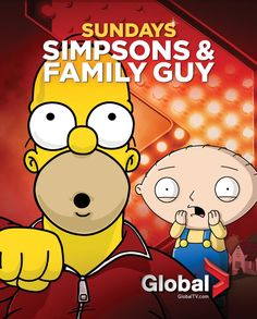 #TheSimpsons and #FamilyGuy Sundays on Global