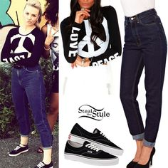 Perrie Edwards: Peace Top, High-Waist Jean | Steal Her Style