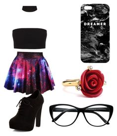 """Galaxy Struck"" by brokenrosaline on Polyvore featuring New Look, Mr. Gugu & Miss Go and Oscar de la Renta"