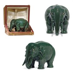 Faberge ca 1900 An Unusually Large Jeweled Carved Nephrite Model of an Elephant