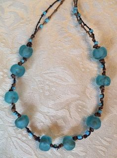 "Gypsy Rock Candy African Sea Glass Bead Necklace Recycled 32"" Long Knot Hippie #Handmade #StrandString"