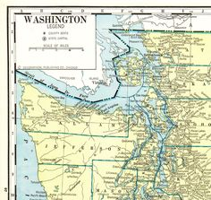 1936 LARGE Antique WASHINGTON State Map Vintage Map of Washington Poster Print Wall Art Anniversary Gift for Birthday Wedding 11592 by plaindealing on Etsy