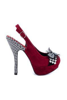 Bettie Page Caroline Red & Black Houndstooth Heels