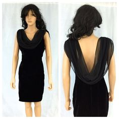 Vintage Little Black Dress. Open Back. Velvet by NicoleNicoletta