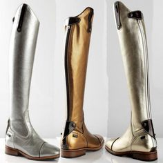 OMG Silver riding boots!  Freaking amazing.... silver and gold boots by De Niro  www.iconadeironchi.com
