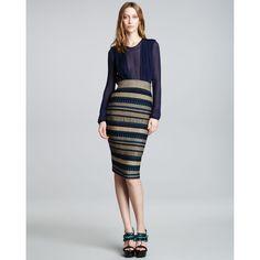 Burberry Prorsum Striped Column Skirt