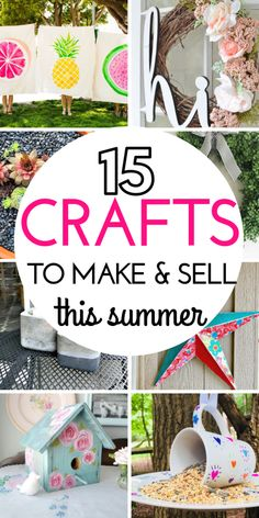Are you looking to make some extra money this spring or summer by making handicrafts? Here are 15 DIY projects you can make and sell to make extra money every month. These adorable craft ideas cost li Diy Craft Projects, Diy Projects To Make And Sell, Diy Crafts For Teens, Summer Crafts For Kids, Sell Diy, Easy Diy Crafts, Diy Crafts Videos, Diy Crafts To Sell, Kids Crafts