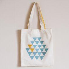 Organic cotton canvas tote bag - geometric blue triangles