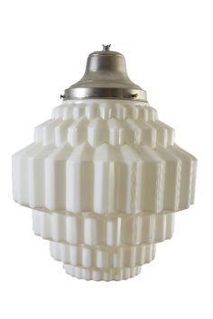 Art Deco Milk Glass Chandelier | More on the myLusciousLife blog: www.mylusciouslife.com
