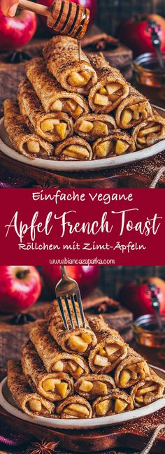 French toast roll-ups with apple and cinnamon filling . - These apple cake french toast roll-ups are vegan, with a delicious apple-cinnamon filling and are c - French Toast Roll Ups, Vegan French Toast, French Toast Bake, Easy Cake Recipes, Baking Recipes, Dessert Recipes, Delicious Recipes, Pie Recipes, Oreo Dessert