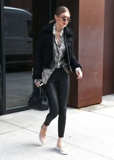 Gigi Hadid.. All Saints Asher shearling biker jacket..