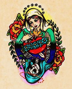 Day of the Dead VIRGIN MARY Old School Tattoo Art Print 8 x 10