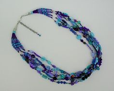Beautiful blues OOAK multi color statement by SusanRodebushArts