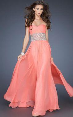 Sweetheart Strapless Empire Waist Elegant Coral Prom Dress