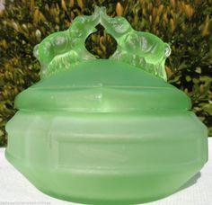 L.E. Smith RARE Deco Green Satin Glass Powder Jar-Kissing/Battling Elephants