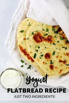 This homemade yogurt flatbread recipe is a flat bread recipe that you can use for all sorts of things from flatbread pizza to tacos and wraps. It uses two ingredient dough – the 2 ingredient dough consists of self-rising flour and plain yogurt. Great for an easy dinner idea! #flatbread #homemade #2ingredients Yogurt Flatbread Recipe, Easy Flatbread Recipes, Flatbread Pizza, Easy Bread Recipes, Flat Bread Recipe Easy, Side Dish Recipes, Chicken Recipes, Best Bread Recipe, Bagel Recipe