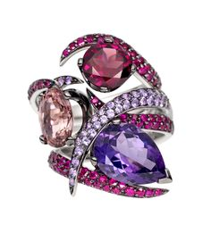 Shaun Leane amethyst and ruby Aurora interlocking rings (this is 3 separate rings) 18 carat white gold, 1.2mm x 1.0mm pear shaped amethyst with pave rubies.