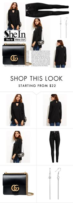 """""""Black Cut Out Asymmetrical Swing T-shirt"""" by jacinta203 ❤ liked on Polyvore featuring Whiteley and Gucci"""