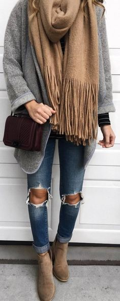 #fall #outfits grey jacket beige scarf ripped jeans