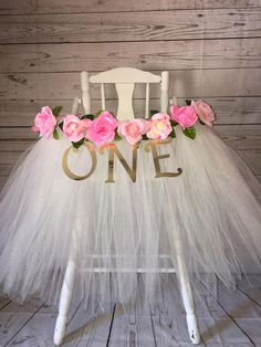 High Chair Tutu - High Chair Skirt - Ivory and Pink Highchair tutu - Highchair skirt - High Chair Skirt-1st Birthday- High Chair Tutu by AvaryMaeInspirations on Etsy