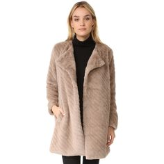 BB Dakota Winsford Faux Fur Coat (3.860 RUB) ❤ liked on Polyvore featuring outerwear, coats, camel, striped faux fur coat, imitation fur coats, fake fur lined coats, striped coats and faux fur lined coat