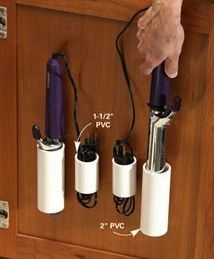 Clever idea! Store your curling iron. All you need is a glue gun and some PVC pipe.