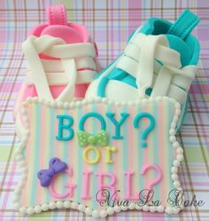 Is it Boy or Girl  Baby revealing Gender fondant by vivalacakeshop, $30.00 Mom Cake, Fondant Figures, Baby Boy Or Girl, Baby Gender, Reveal Parties, Gender Reveal, Cake Ideas, Cake Toppers, Diaper Bag