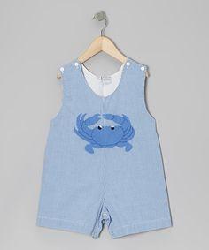 Blue Gingham Crab Shortalls