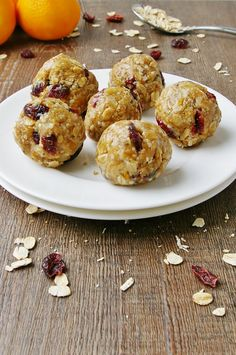 Orange cranberry energy balls. A fast and healthy snack that's dairy free, egg free, and peanut free!