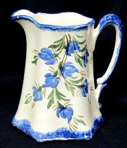 Vintage Cash Family Buttermilk Pitcher Blue Floral