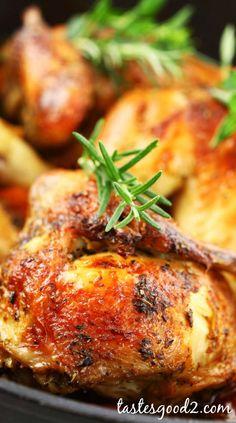 Rosemary Roast Chicken recipe {just #chicken, salt/pepper, onion, fresh rosemary}
