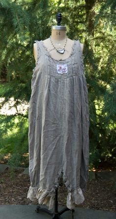 Image of Magnolia Pearl Handwoven European Linen Willa Jumper with Pleats, Backtie & Eyelet Lace **LAST ONE**