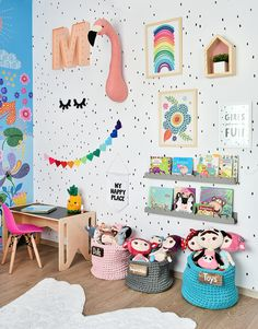 Stylish & Chic Kids Room Decorating Ideas - for Girls & Boys Perfect kids room organization ideas clutter // kids room wall painting and decorations Kids Room Organization, Playroom Ideas, Colorful Playroom, Colorful Girls Room, Rainbow Girls Bedroom, Kids Playroom Colors, Playroom Printables, Rainbow Room Kids, Colourful Bedroom