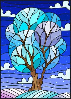 Photo about Illustration in stained glass style with winter tree on sky background with the snow. Illustration of frost, sample, leaves - 105227902