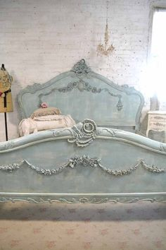 Wow what an amazing complete bed for your romantic boudoir. This is a brand new piece that can be painted any color you like. If you are working with specific colors on your bedding or walls just convo us and we can paint any of our pieces to coordinate with your room. We works with
