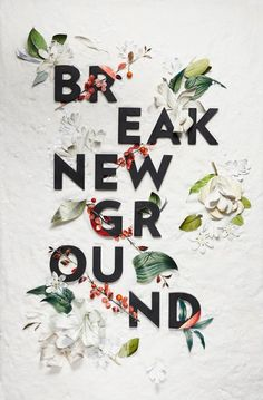 Break new ground.