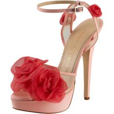 Charlotte Olympia Fleur Ankle-Wrap Platform Sandal, Pink (591,430 KRW) ❤ liked on Polyvore featuring shoes, sandals, heels, sapatos, high heels, platform shoes, floral high heel sandals, pink platform sandals, pink sandals and pink platform shoes