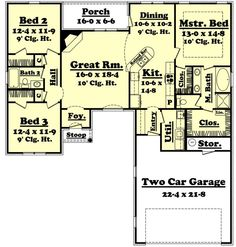 1600 square foot house plans | 1600 square feet, 3 bedrooms, 2 batrooms, 2 parking space, on 1 levels ...