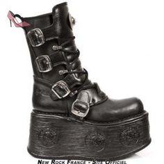 Botte noire en cuir M.1473-S3 - 46 livrable sous 10 jours - Chaussures new rock (*Partner-Link)