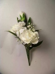 simple mini white carnations with a touch of baby's breath.