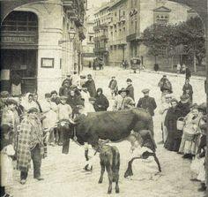 Memoria gráfica de España. Plaza La Virgen. Venta ambulante de leche.