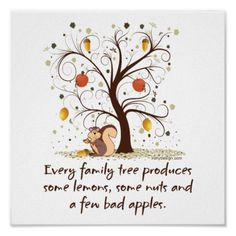Every family tree produces some lemons, some nuts and a few bad apples. This funny saying with an image of a tree with a couple of acorn nuts, lemons, and apples with worms. Added to this funny illustration a cute little squirrel eating a nut. Change the background and border color to your liking.