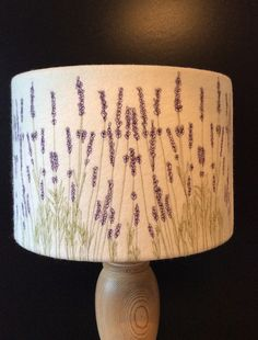 A machine embroidered Lavender lampshade. A neutral felt background using green and purple thread to stitch the lavender. Each lampshade has my unique machine Ceiling Shades, Lamp Shades, Modern Artwork, Glass Material, Neutral Colors, Cornwall, A Table, Machine Embroidery, Creations