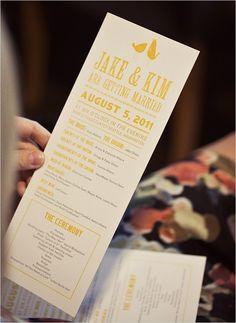 wedding program.