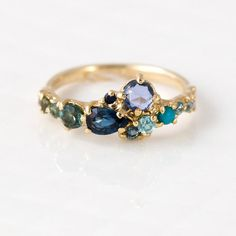 Ocean Blue Cluster Ring in Solid 14k Yellow Gold by Melanie Casey