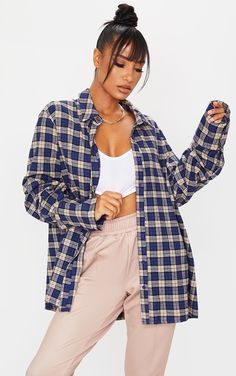 Dark Blue Checked Oversized Cuff Shirt | Tops | PrettyLittleThing English Clothes, Oversized Shirt, Oversized Tops, Flannel Outfits, Fit Team, Shirt Cuff, Blue Check, Blue Tie Dye, How To Roll Sleeves