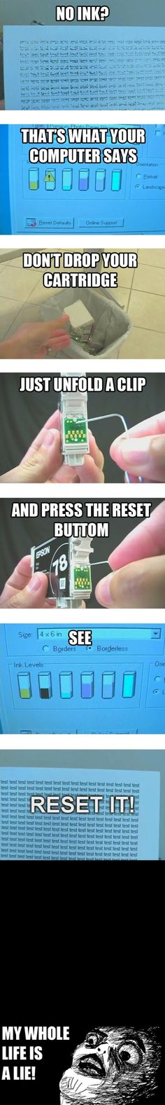 """Low"" Ink Cartridge Reset Button. I refill my cartridges over and over, but the reset button is a new trick for me and I love it!"