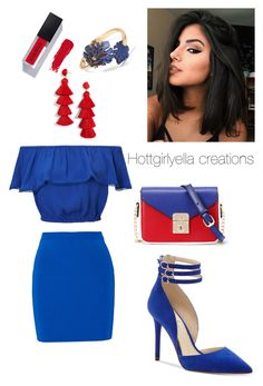 """Never too blue!"" by hottgirlyella ❤ liked on Polyvore featuring T By Alexander Wang, Miss Selfridge, Jessica Simpson, WithChic, BaubleBar and Banana Republic"