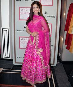 yami gautam in pink bridal lehenga by anita dongre – boutiquesareeblouse.com